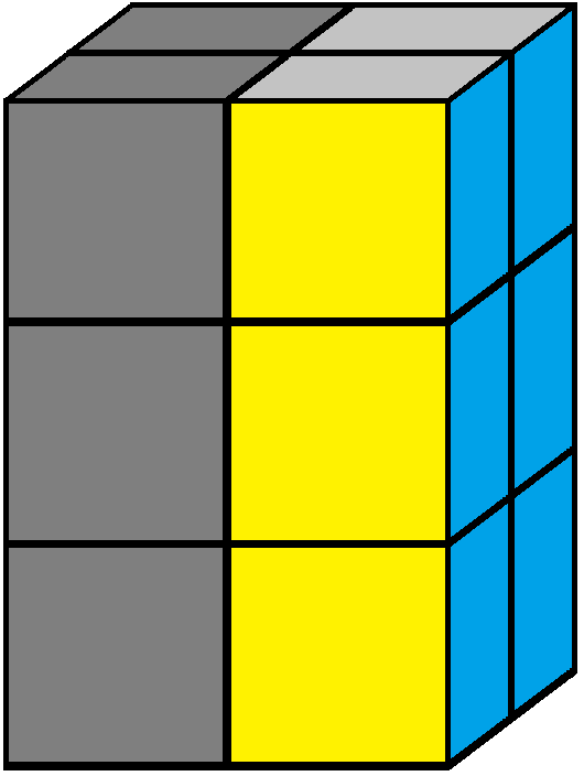 Left face of the 2x2x3 tower cube