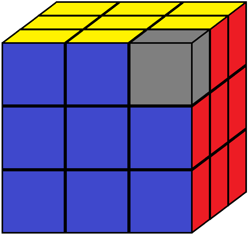 One corner piece of the Rubik's cube