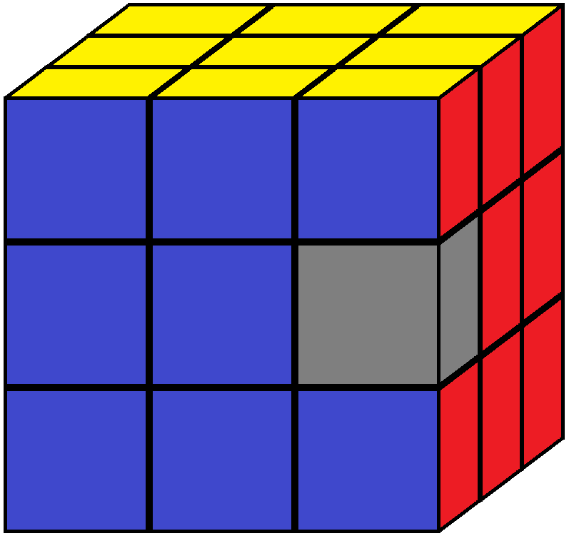One edge piece of the Rubik's cube